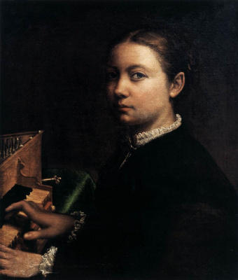 Sofonisba Anguissola. Self portrait playing on the spine