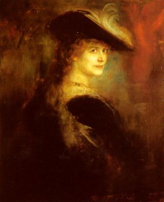 Франц фон Ленбаха. Портрет элегантной леди в пышном костюме