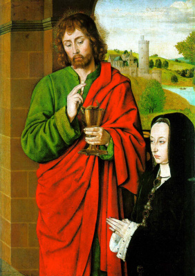 Жан Хэй. Герцогиня Бурбонская со святым патроном Иоанном Евангелистом
