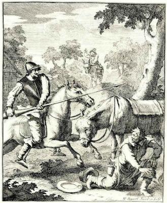 William Hogarth. Adventure with a helmet Mambrino