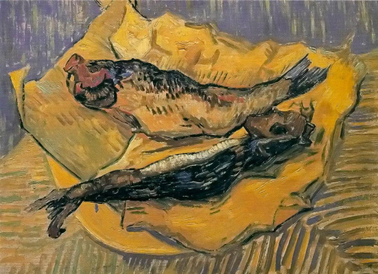 Vincent van Gogh. Still life: smoked herring on a piece of yellow paper