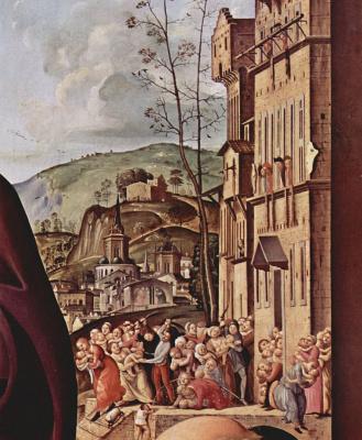Пьеро ди Козимо. Мария и св. Елизавета, св. Николай и св. Антоний, деталь: Избиение младенцев