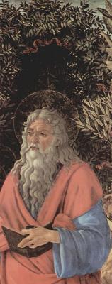 Сандро Боттичелли. Алтарь Барди, Мадонна на троне, Иоанн Креститель и Иоанн Евангелист, деталь: Иоанн Евангелист