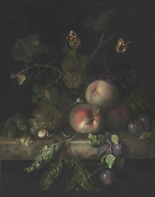 Рашель Рюйш. Персики, виноград и сливы с стрекозой, улиткой и гусеницей