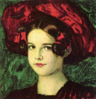 Franz von Stuck. Marie in a red hat