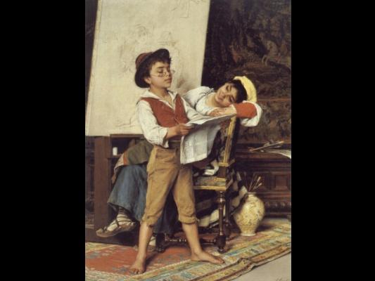 Мальчик читает новости