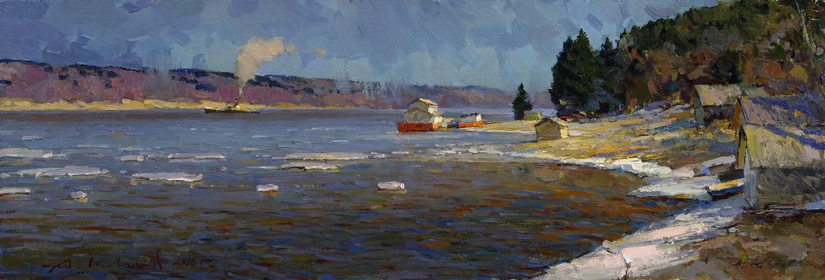 Alexander Shevelyov. Ples, Volga spring. Oil on canvas 27.5 X 81 cm.