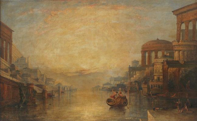 Unknown artist. A capriccio of a river with classical architecture