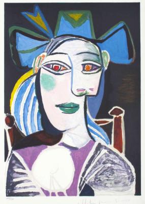 Пабло Пикассо. Бюст женщины в синей шляпе