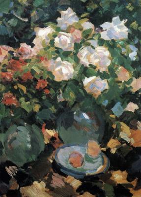 Konstantin Korovin. Roses in blue jugs