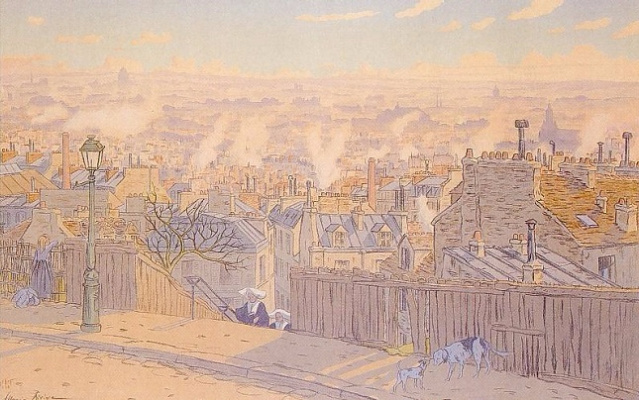 Анри (Henri) Ривьер (Rivière). Paris vu de Montmartre