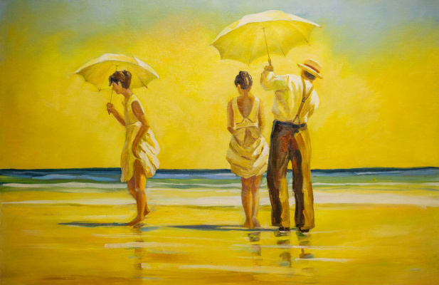 Savely Kamsky. Copy of Jack Vettriano's painting Hot midday