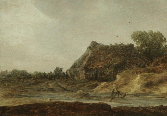 Ян ван Гойен. Путники на дороге через поселок