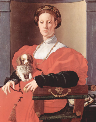 Jacopo Pontormo. Portrait of a lady in a red dress