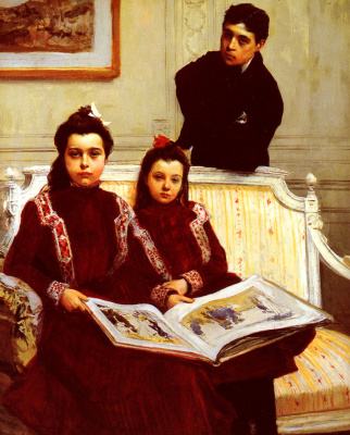 Франсуа Фламенг. Фамильный портрет мальчика и двух его сестер