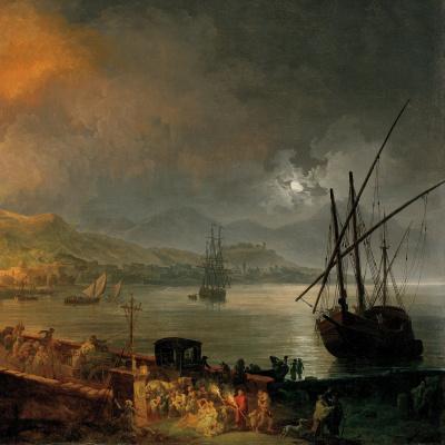 Pierre-Jacques Woller. The Eruption Of Mount Vesuvius. 1777 detail
