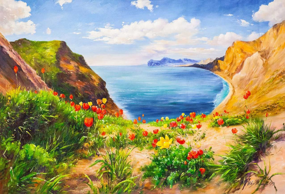 Alexander Romm. Poppies and sea