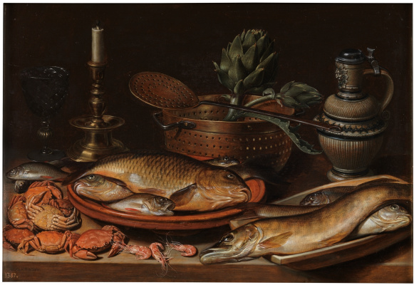 Clara Peeters. Still life with fish, candle, artichokes, crab and shrimp