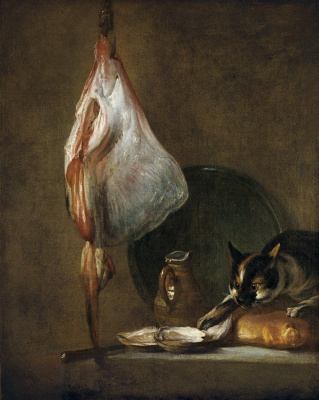 Jean Baptiste Simeon Chardin. Still life with ray, oysters and cat