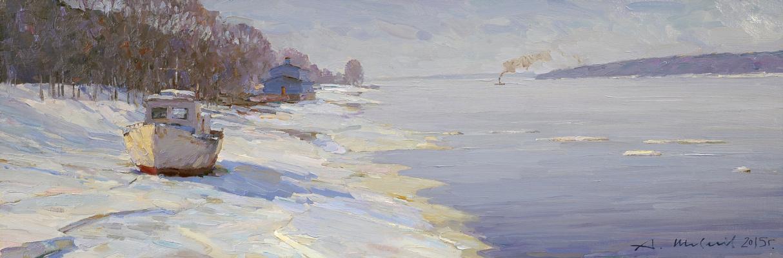 Alexander Victorovich Shevelyov. Stretch, Volga. Ice has passed. Oil on canvas 27.5 X 81.5 cm.