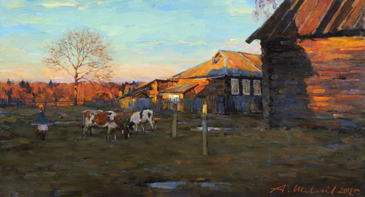 Alexander Victorovich Shevelyov. Evening in Golocalise.Oil on canvas 40,5 # 73,2 cm 2012