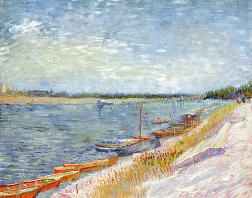 Винсент Ван Гог. Вид реки с весельными лодками