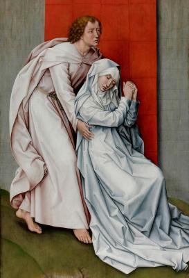 Рогир ван дер Вейден. Распятие со скорбящими Богородицей и святым Иоанном Богословом (левая панель)