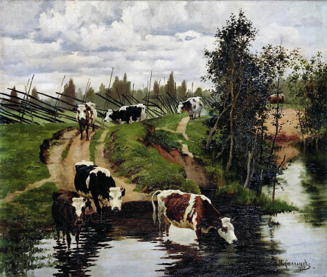 Alexey Stepanovich Stepanov (1780-1887). Cows at a watering place. 1908