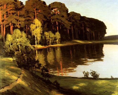 Уолтер Леистиков. Речная сцена з началом леса