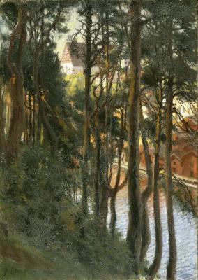 Альберт Густав Аристид Эдельфельт. Вид на Порво с горы Нясинмяги
