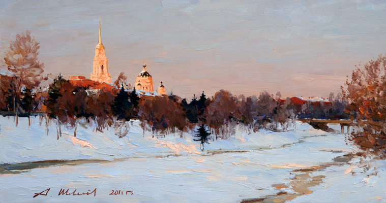 Alexander Victorovich Shevelyov. Winter evening in Rybinsk.Hardboard oil 32 # 61 see 2011