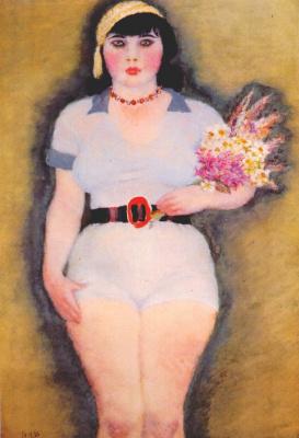 Владимир Васильевич Лебедев. Молодая девушка в свитере с букетом
