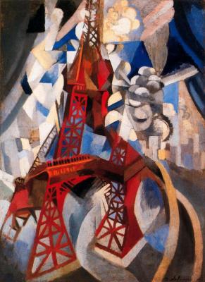 Red Eiffel tower. From the Saint-séverin