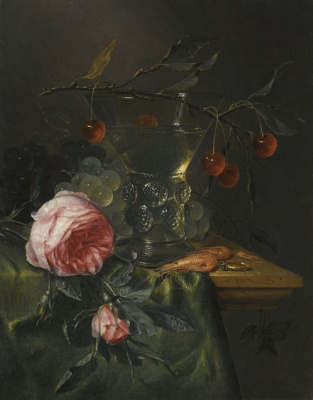 Peter de Ring. Still life with roses, cherries and shrimp