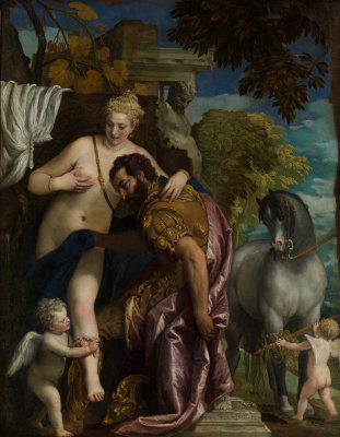 Mars and Venus linked by Cupid