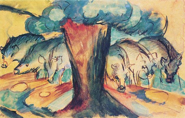 Франц Марк. Свиньи под деревом
