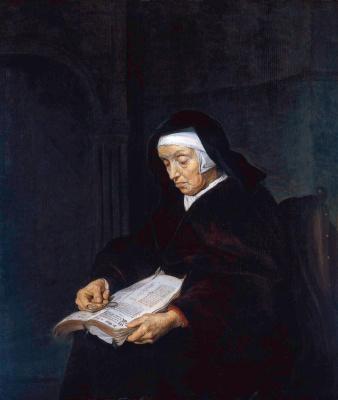 Габриель Метсю. Пожилая женщина с книгой