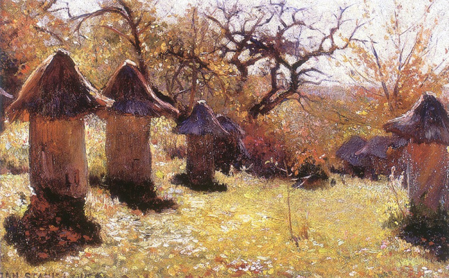 Jan Stanislavsky. Landscape with beehives. Ukraine