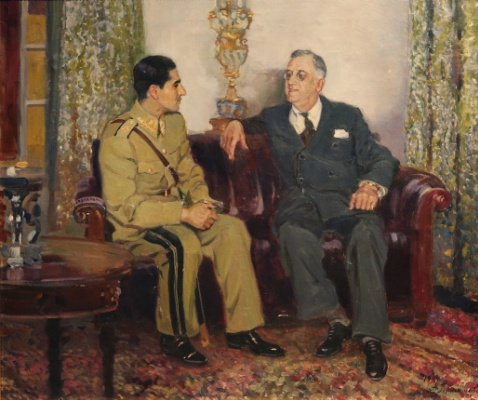 Alexander Mikhailovich Gerasimov. Meeting of US President Franklin Delano Roosevelt and Shah of Iran Mohammad Reza Pahlavi. 1944