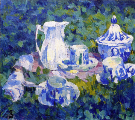 Giovanni Giacometti. Still life with dishes in the garden