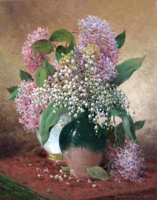 Vasily Ivanovich Gribennikov. Lilac and lilies of the valley