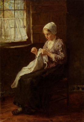 Joseph Israel. Sewing