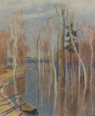 Isaac Levitan. Spring. Big water. A sketch of the same picture