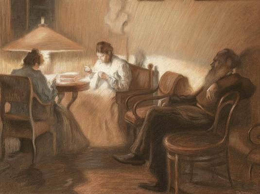 Leonid Osipovich Pasternak. Tolstoy house. coal.