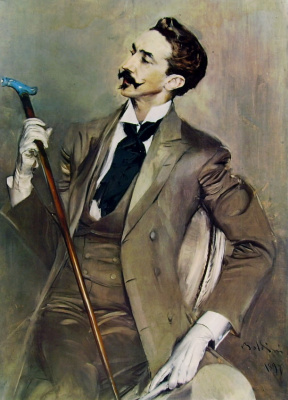 Giovanni Boldini. Portrait of a gentleman in white gloves