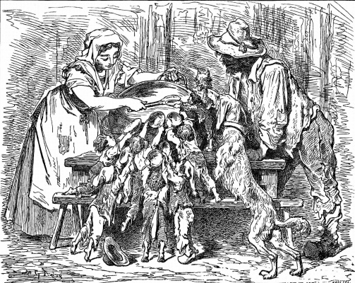"""Paul Gustave Dore. Illustration for the """"Fairy Tales"""" by Pierrot"""