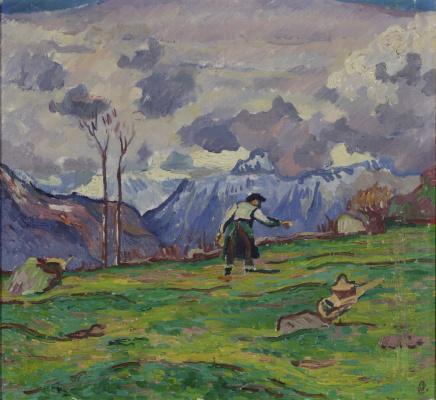 Giovanni Giacometti. The farmer in the field, Maloja
