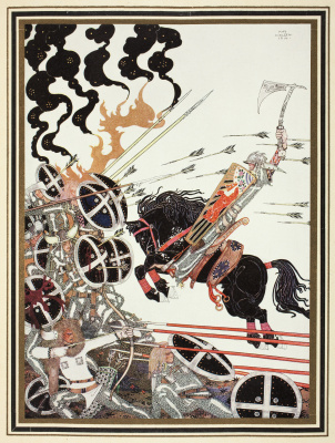 "Kay Nielsen. Lad in a battle. Illustration of the collection of fairy tales ""East of the sun West of the moon"""
