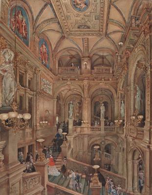 Rudolf Ritter von Alt. Das Treppenhaus des k.k. Hof-Operntheaters