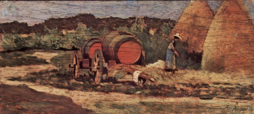 Giovanni Fattori. Red barrels